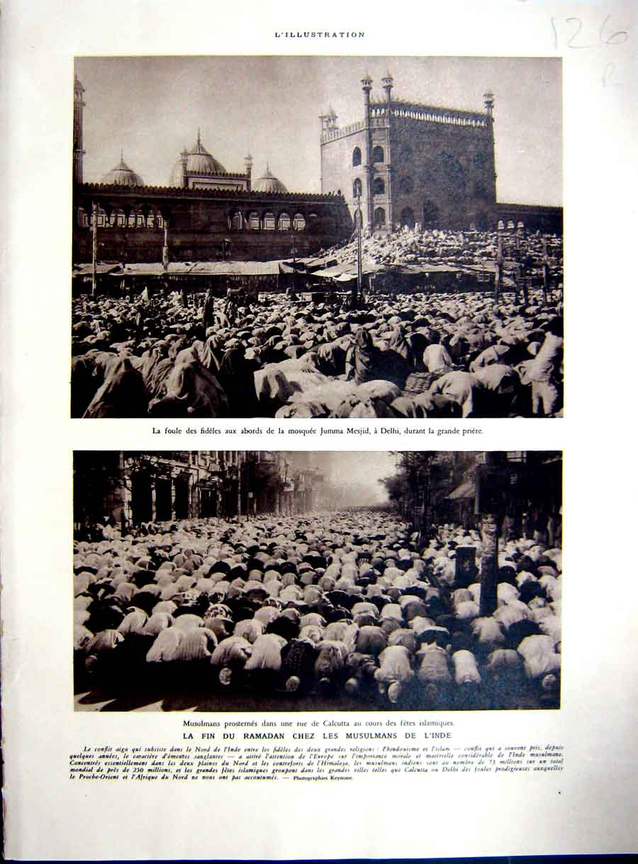 [Print Muslims India Ramadan Calcutta French Africa 1937 126Re234 Old Original]