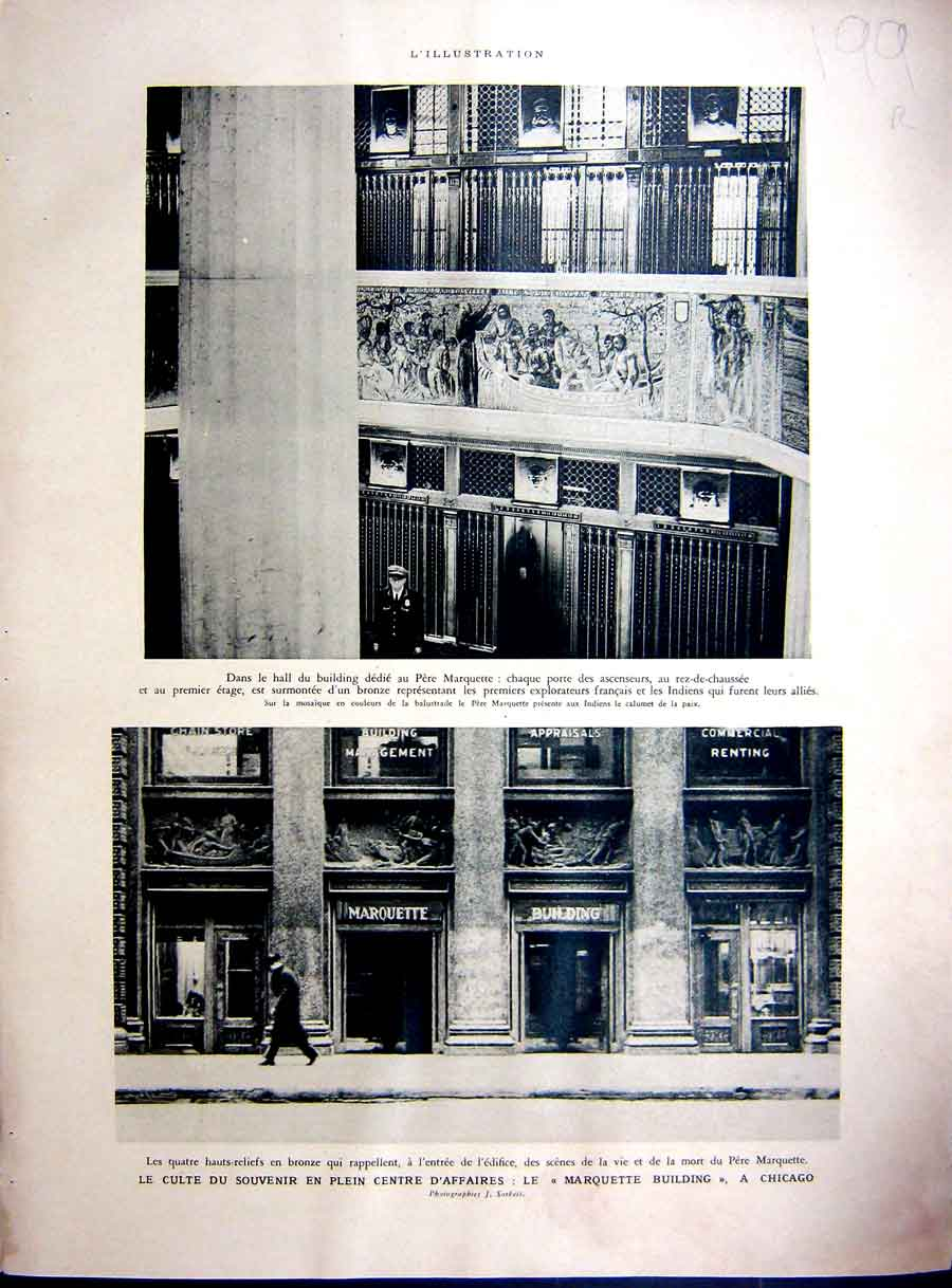 Print Chicago Marquette Architecture America New-York 1937 199Re234 Old Original