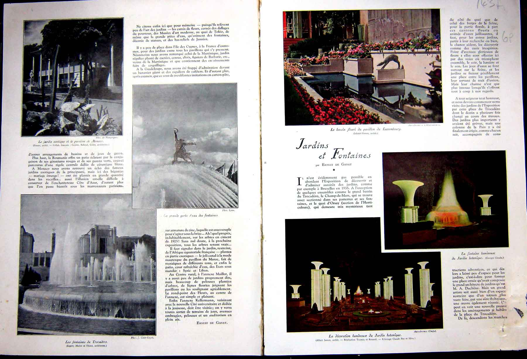[Print Garden Fountains France Decor French 1937 143Ae238 Old Original]