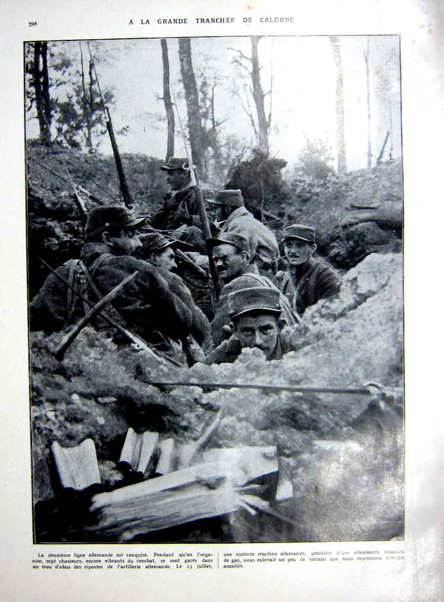 [Print Calonne Trench War Argonne France French 1927 143Re253 Old Original]