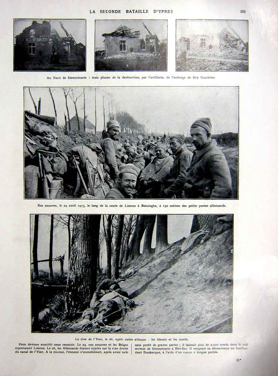 [Print Ypres Battle War Yser German Millitary French 1927 146Re253 Old Original]