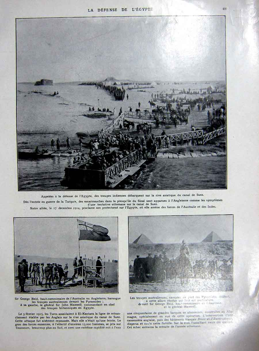 [Print Egypt Defence Suez Canal War Military French 1927 178Re253 Old Original]