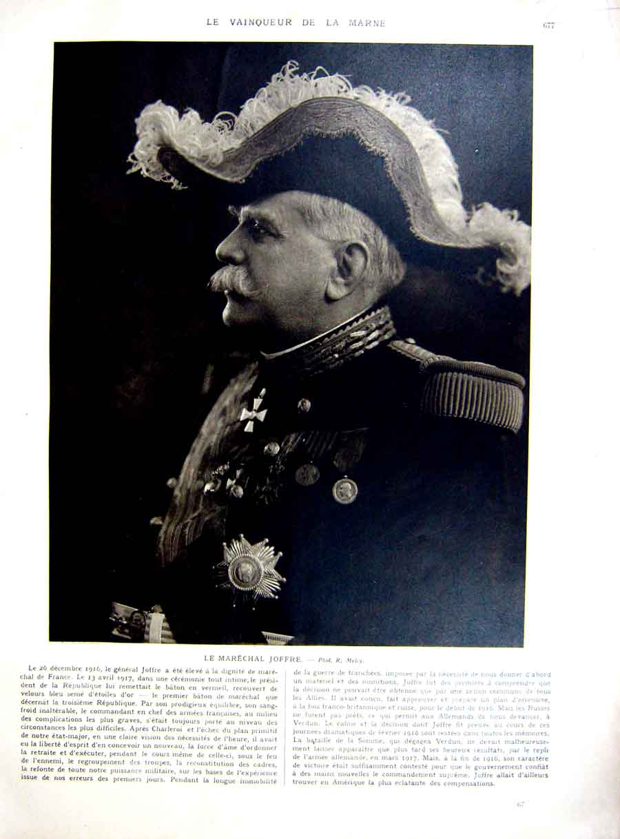 [Print Joffre Marne Portrait Lyautey Minister War Ww1 1927 217Re253 Old Original]