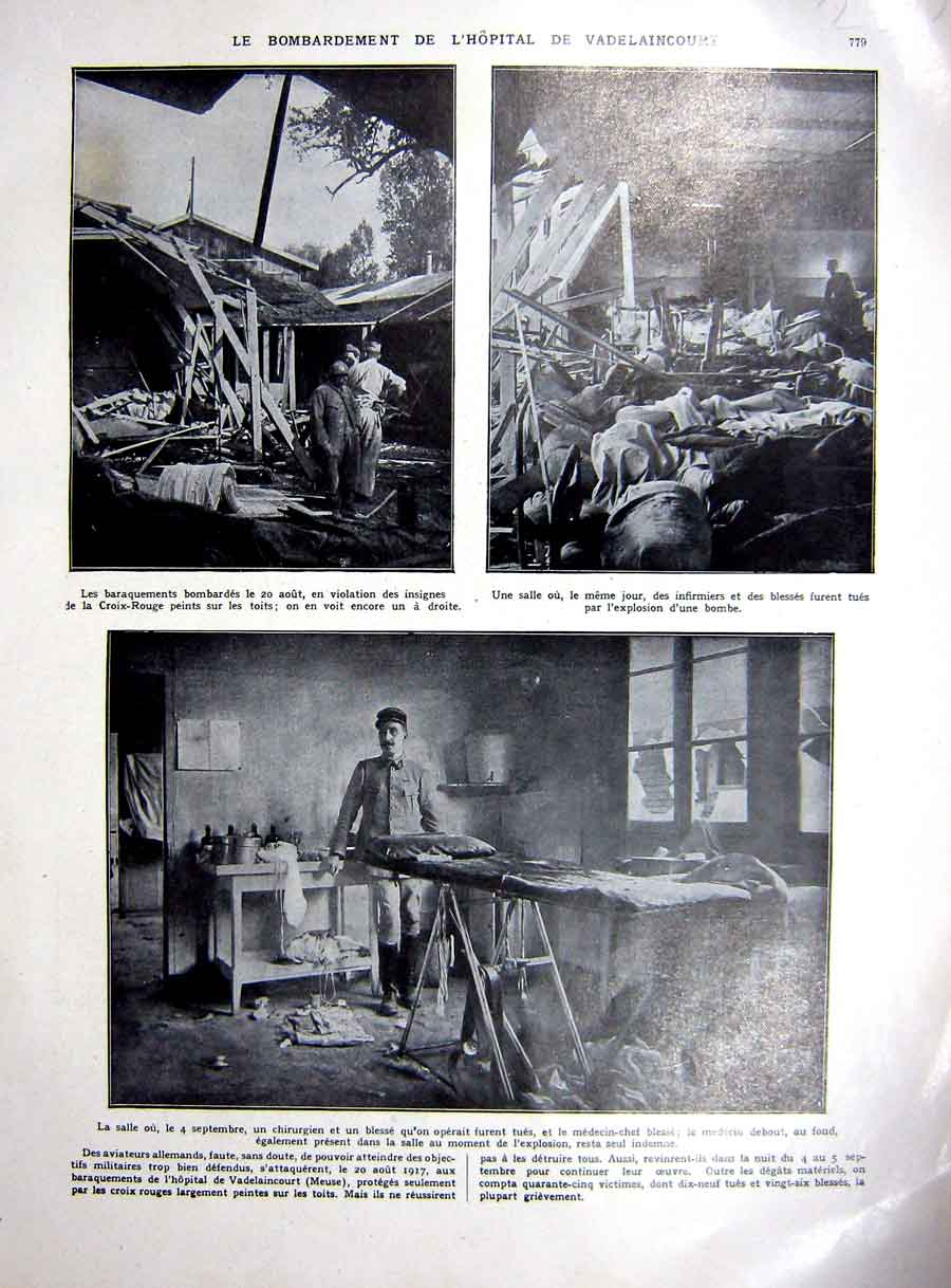 [Print Vadelaincourt Hospital Attack Ww1 War Roumania 1927 230Re253 Old Original]