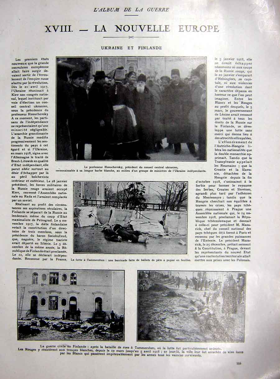 [Print Europe Ww1 Ukraine Finland Civil War Prague French 1927 289Re253 Old Original]