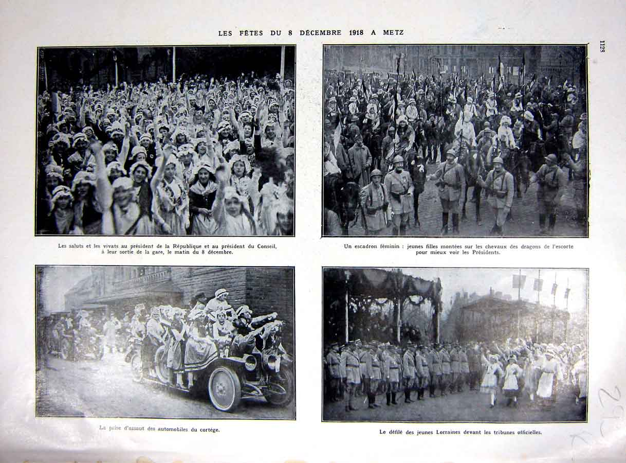 [Print Metz Petain Military Parade Victory Ww1 War 1927 293Re253 Old Original]