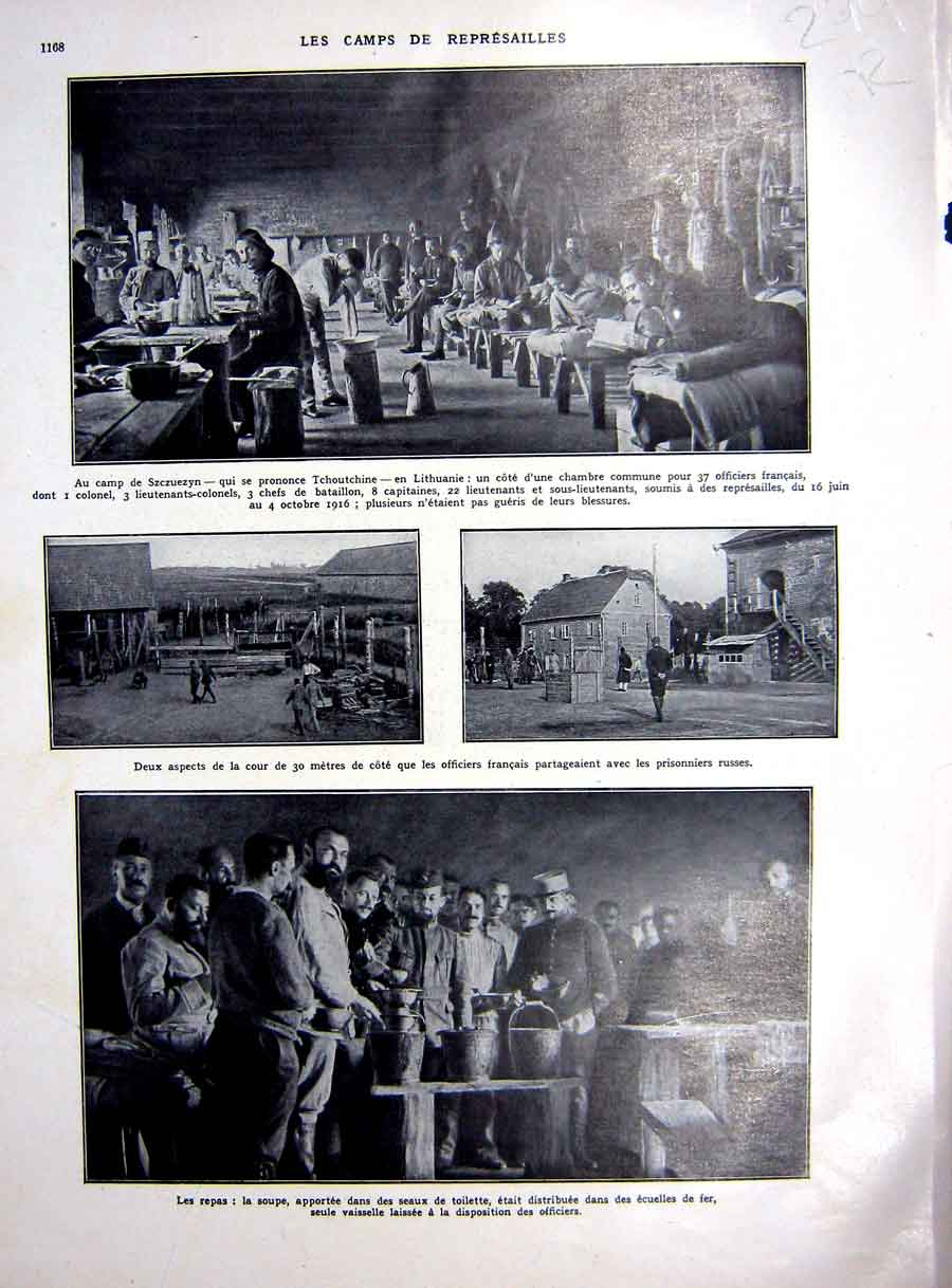 [Print War Military Camp Ww1 Prisoners Life French 1927 299Re253 Old Original]
