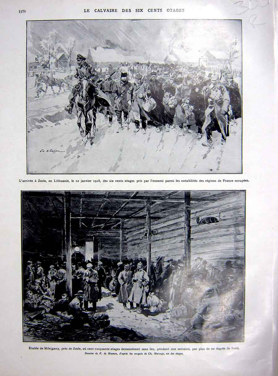 [Print Zosle Lithuania Ww1 Calvary Prisoners War French 1927 300Re253 Old Original]