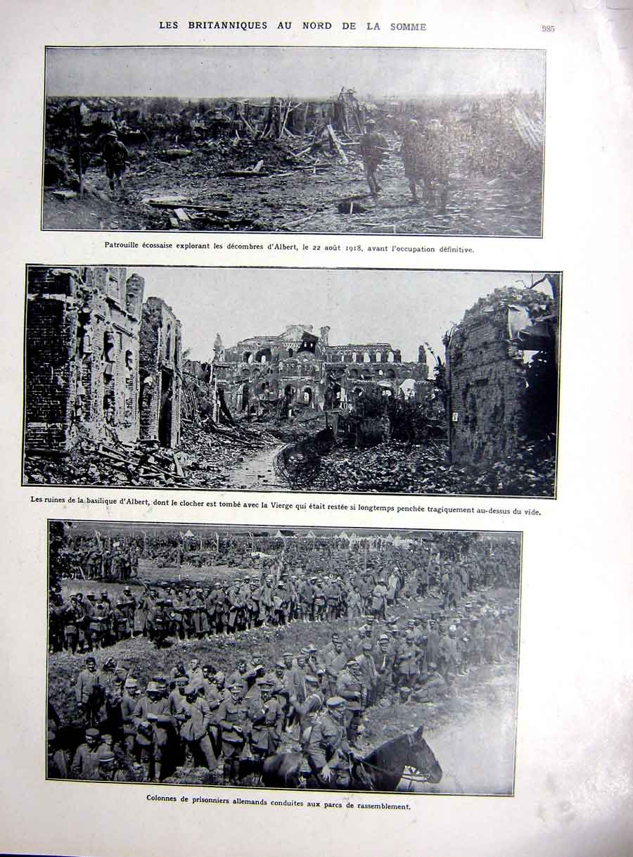 [Print Somme German Prisoners Albert Rawlinson Ww1 War 1927 102Re254 Old Original]