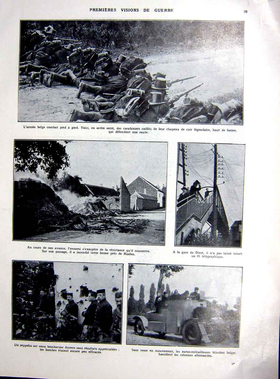 [Print War Ww1 Infantry Troops Anvers Transport Bruges 1927 104Re254 Old Original]