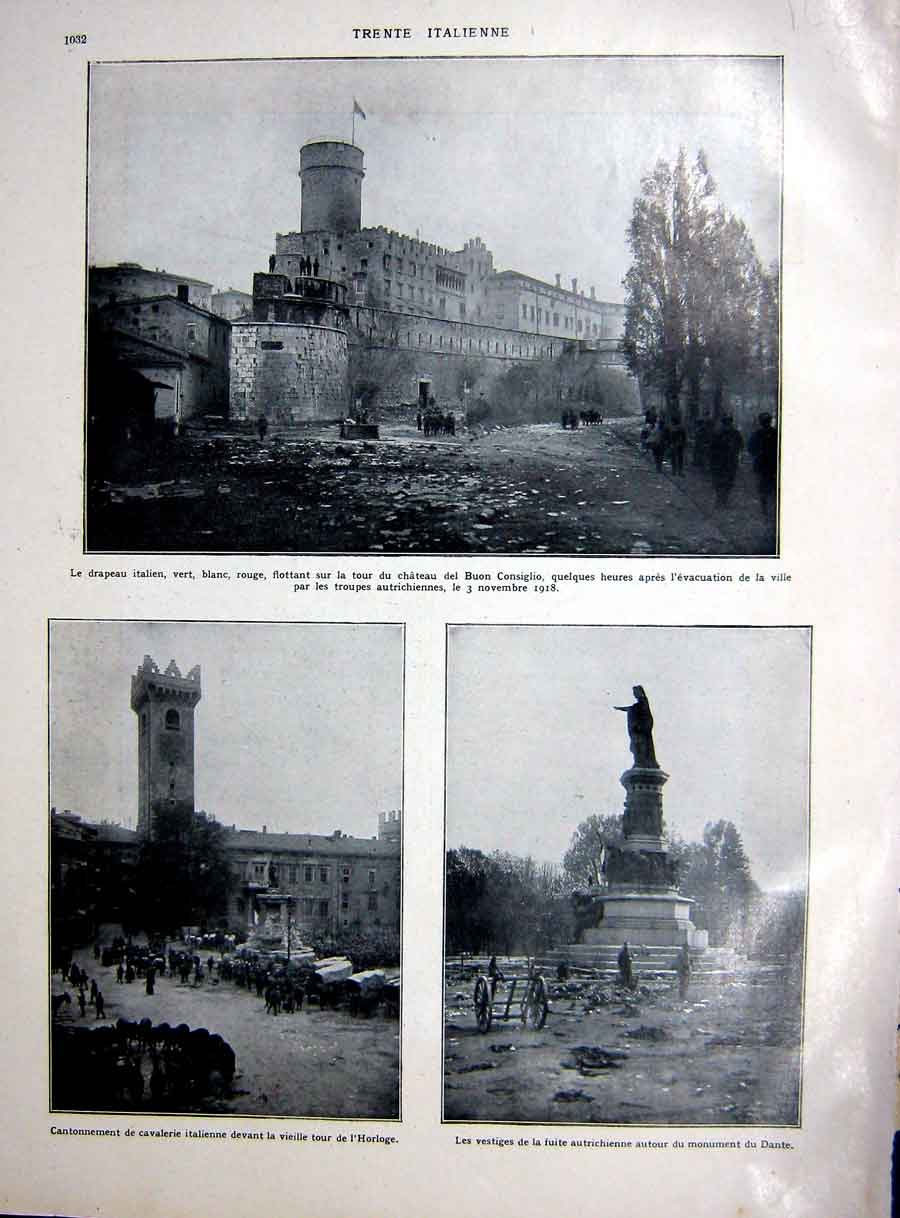 [Print Italian Flag Ww1 Horloge Dante Austrian Troops War 1927 108Re254 Old Original]