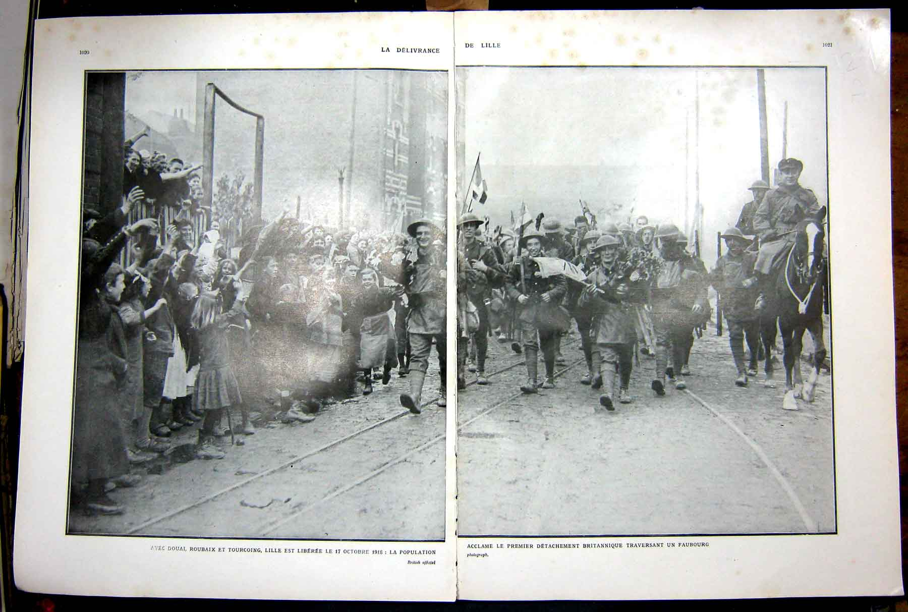 [Print Lille Liberated Ww1 Douai Ruins Troops War French 1927 129Ae256 Old Original]