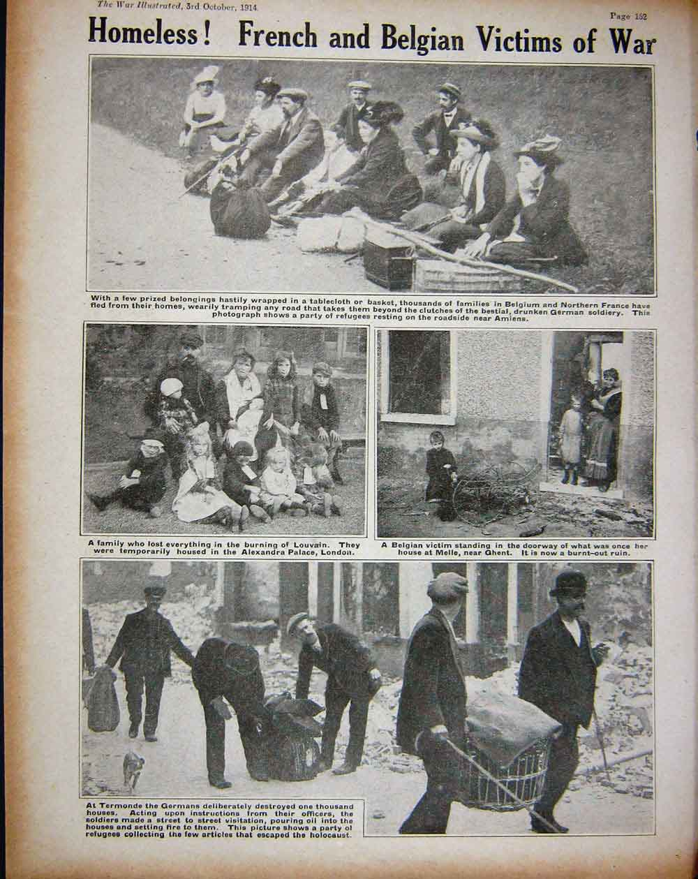 [Print 1914 Ww1 Church Termonde Meaux French Hospital Homeless 215Re260 Old Original]
