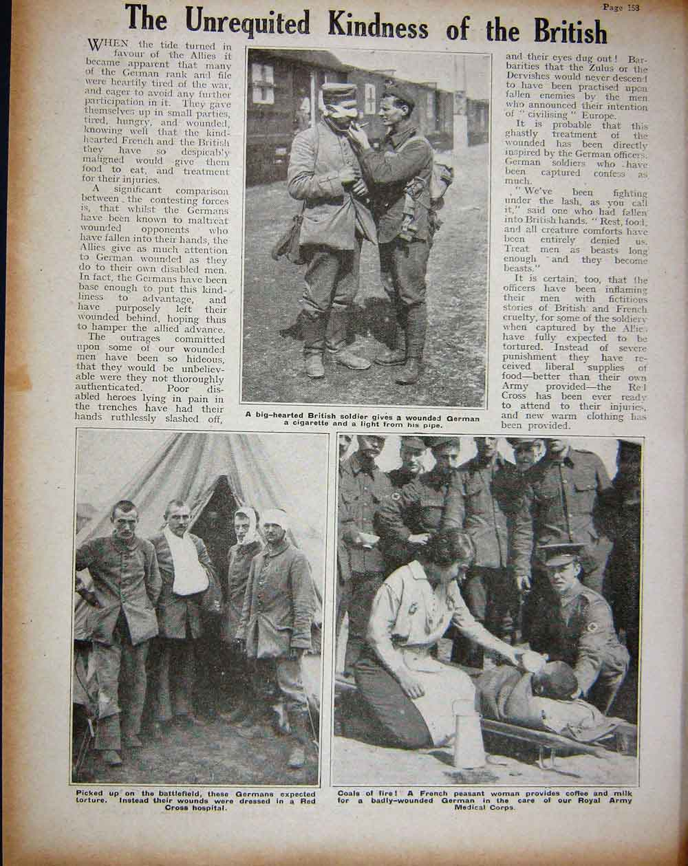 [Print 1914 Ww1 British Soldiers Trenches Germans Hospital 217Re260 Old Original]