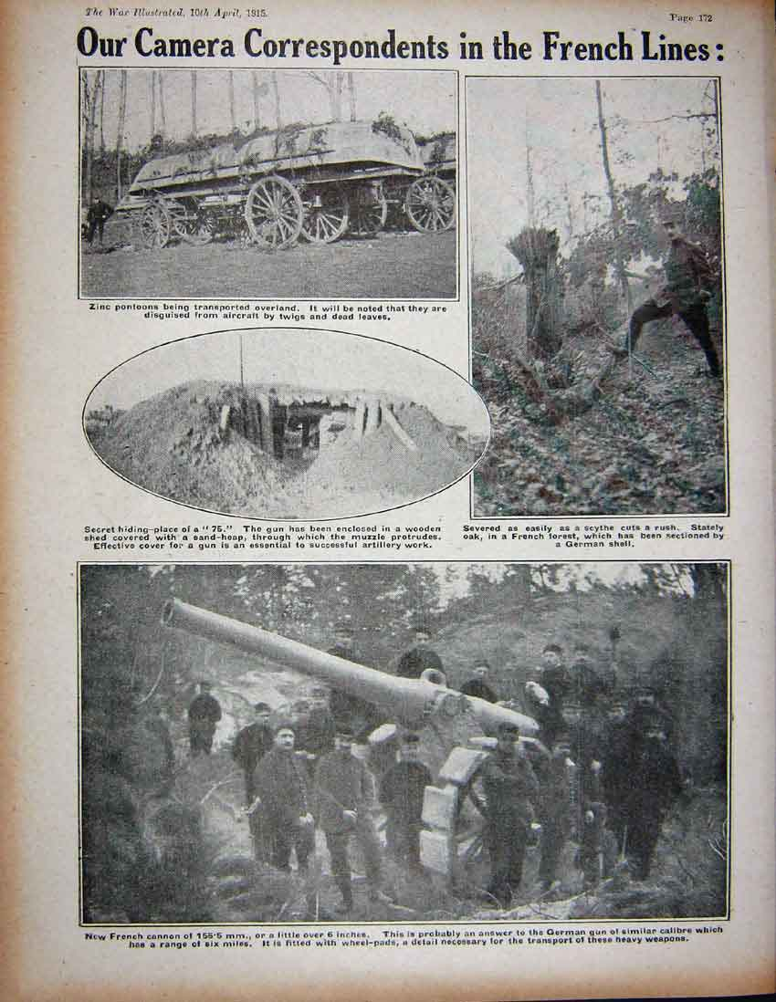 Print 1915 Ww1 British Soldiers Machine-Gun French Cannon 335Re262 Old Original