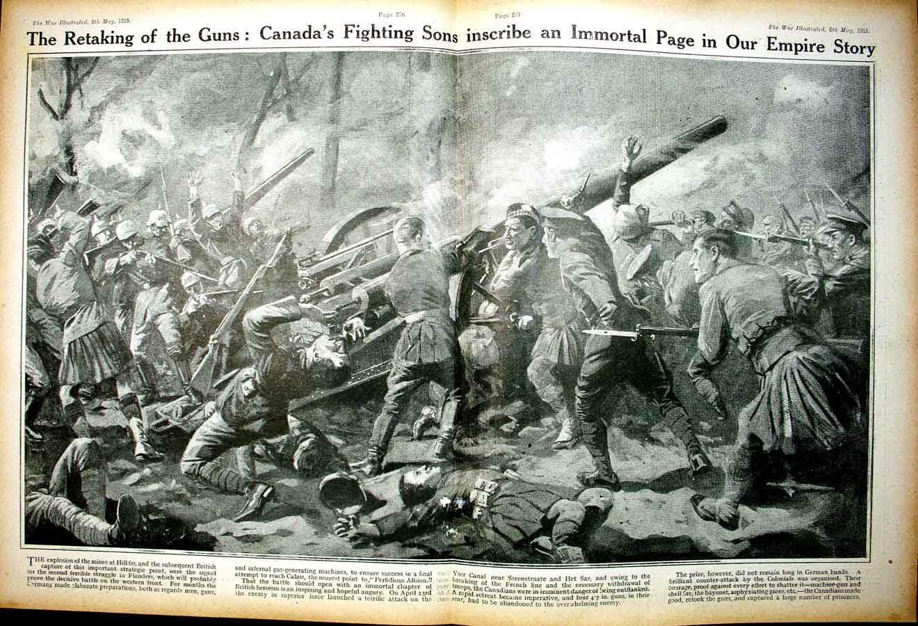 [Print *0333 World War 1 Candian Soldiers Flanders Red Cross Kultur 110Ae267 Old Original]