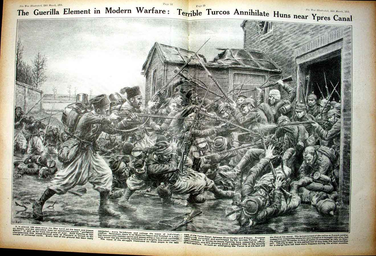 [Print *0335 World War 1 Turcos Huns Ypres Canal Soldiers Ottoman 112Ae267 Old Original]