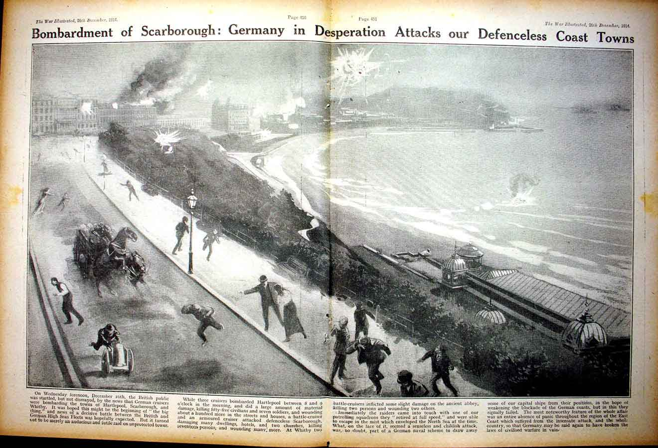 [Print *0340 World War 1 Bombardment Scarborough French Soldiers 118Ae267 Old Original]