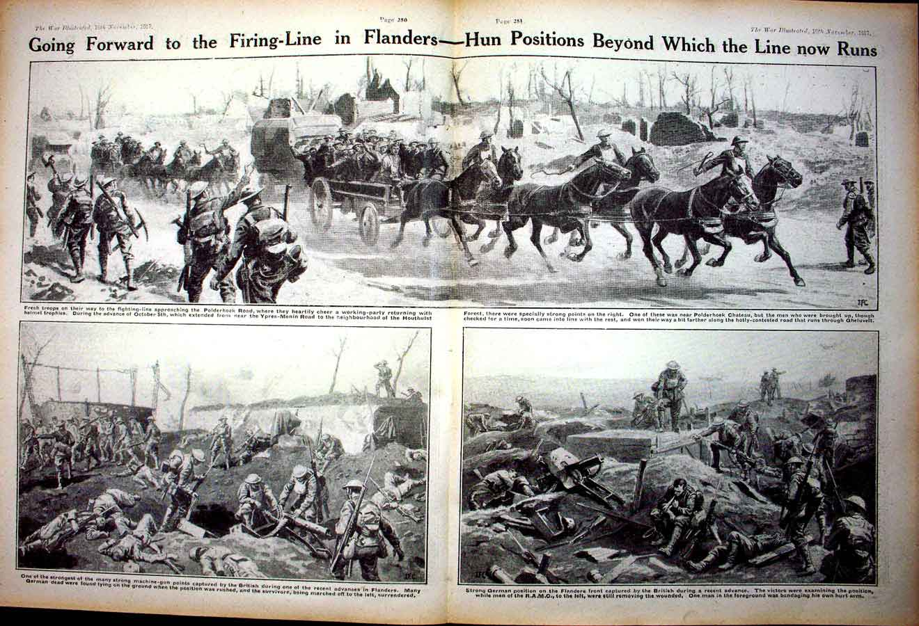 [Print *0367 World War 1 Flanders Soldiers Huns Horses British Army 170Ae267 Old Original]