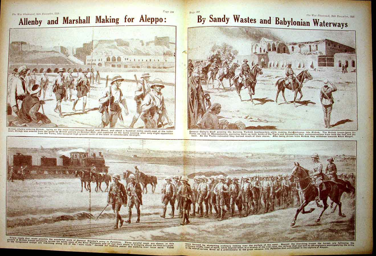 [Print *0378 World War 1 Allenby Marshall Soldiers Bruges Elizabeth 181Ae267 Old Original]