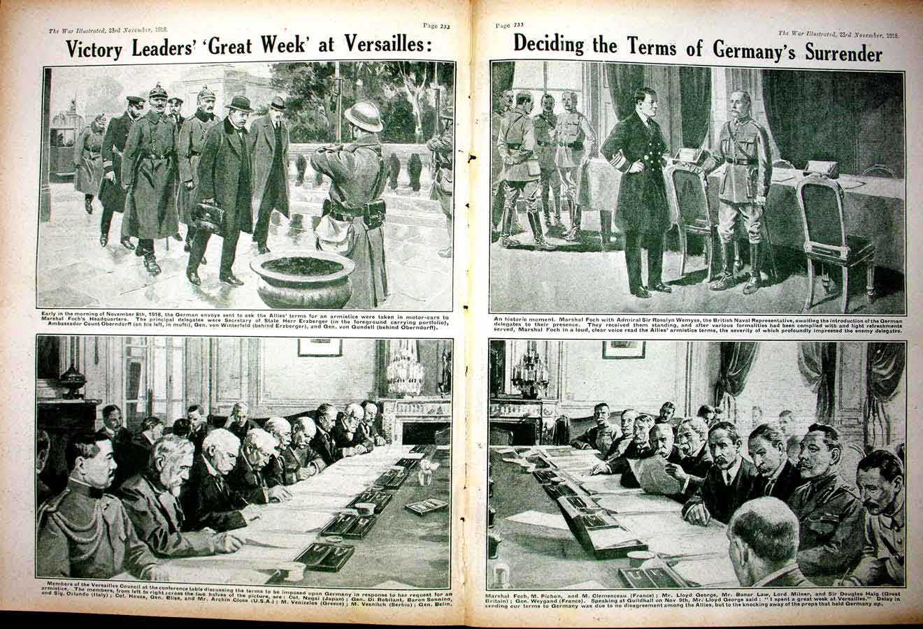 [Print *0379 World War 1 Versailles Lloyd George Law German Prisoner 182Ae267 Old Original]