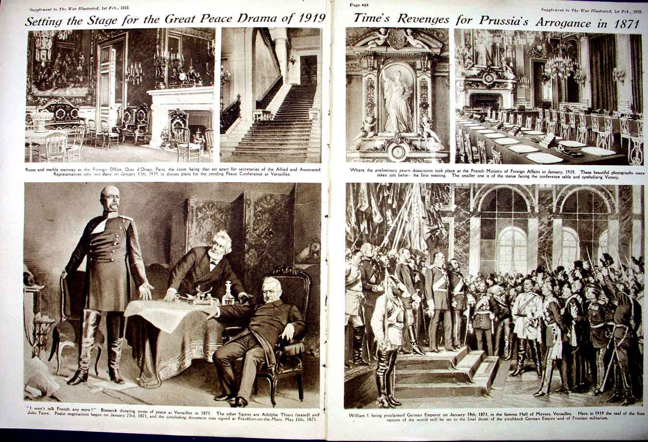 [Print *0381 World War 1 Bismarck Versailles German Wiesbaden Italy 186Ae267 Old Original]