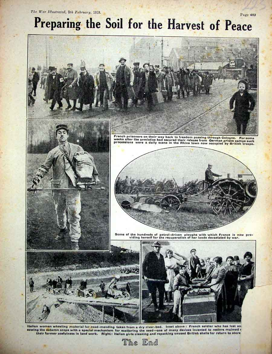 [Print *0415 World War 1 Italian Women French Soldiers Prisoners 225E267 Old Original]