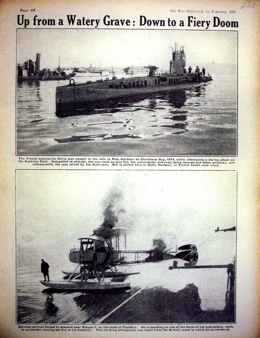 [Print *0418 World War 1 French Submarines Pola Harbour Nieuport 228E267 Old Original]