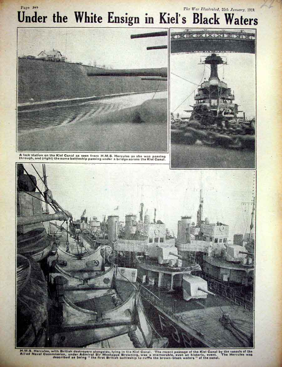 [Print *0419 World War 1 Kiel Canal Ship Hercules British Lock 229E267 Old Original]