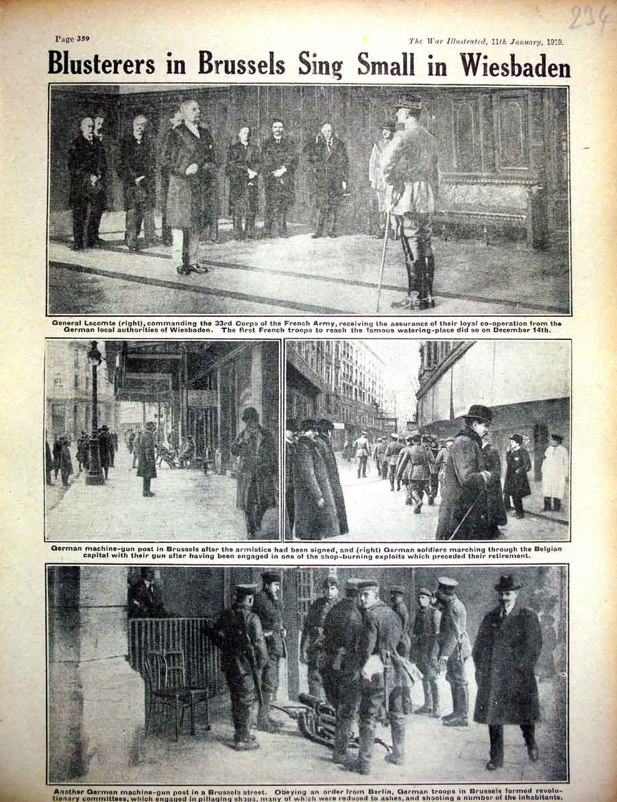 [Print *0424 World War 1 General Lecomte French Soldiers Wiesbaden 234E267 Old Original]