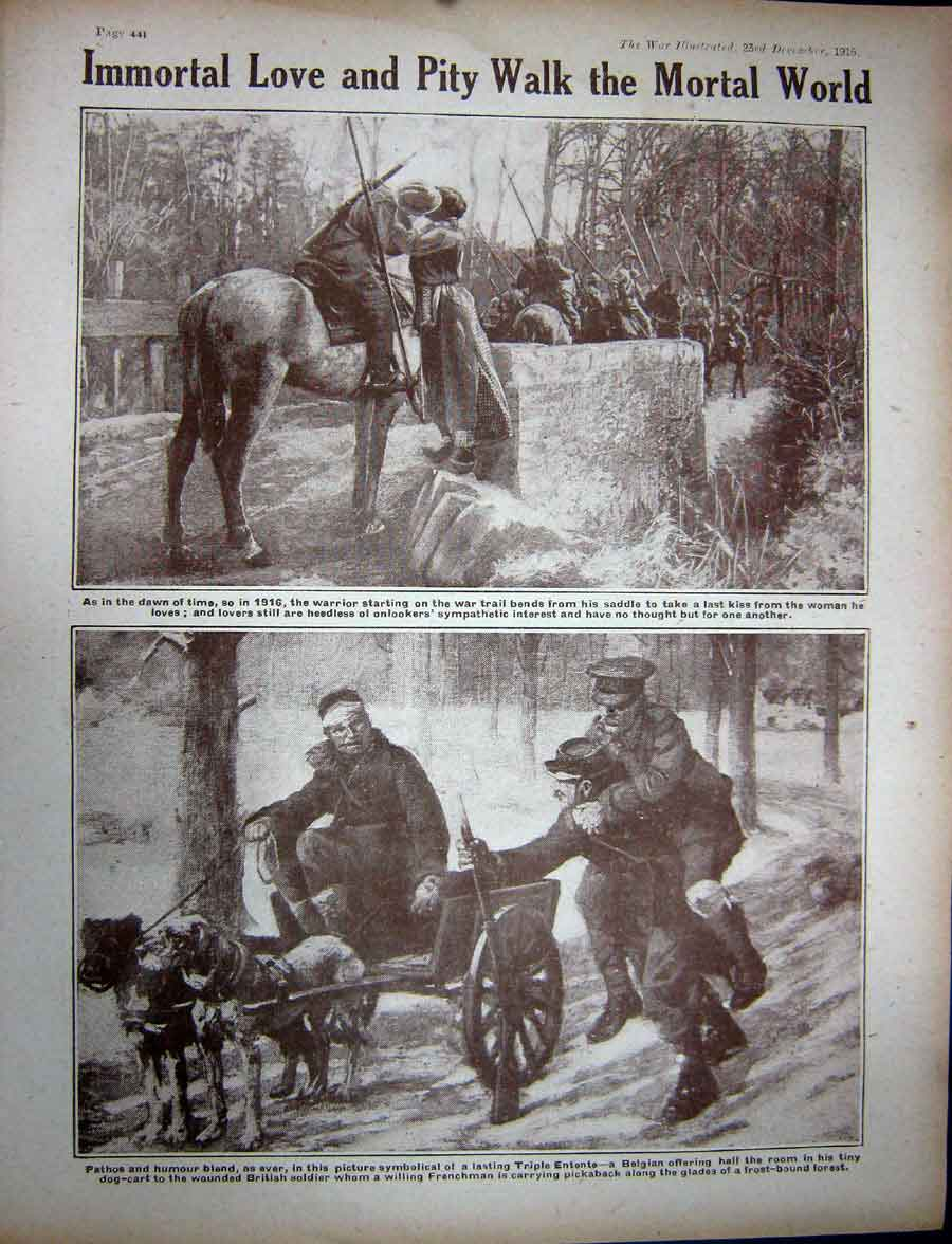 [Print Ww1 1916 Somme Stream Soldiers Belgian Horses Dog Cart 212Re270 Old Original]