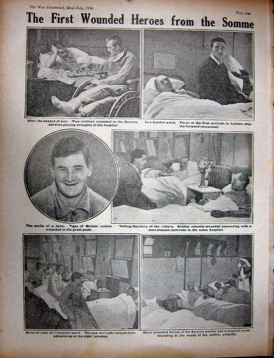 [Print Ww1 1916 Anzacs British Tommy Canadian Soldier Hospital 357Re270 Old Original]
