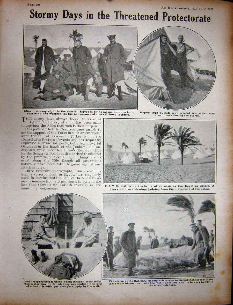 [Print Ww1 1916 Native Soldiers Hospital Barge Townshend Egypt 472Re270 Old Original]