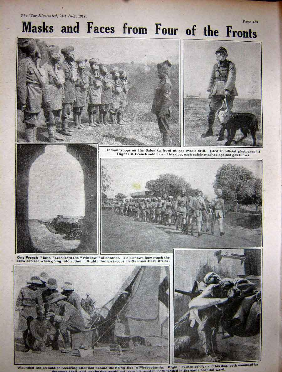 [Print 1917 Ww1 French Guns Sailors Indian Soldiers French Dog 233Re271 Old Original]