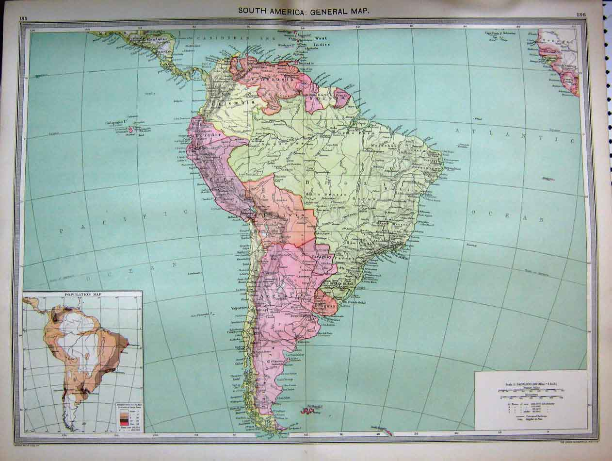 [Print Map C1890 South America Brazil Communications Industry 185Ae284 Old Original]