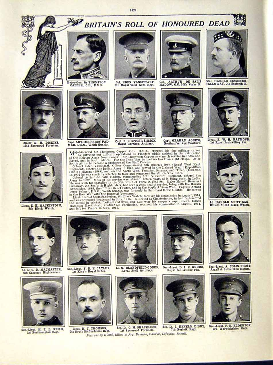 [Print 1915 World War Soldiers Trench Palmer Simson Agnew 101Re286 Old Original]