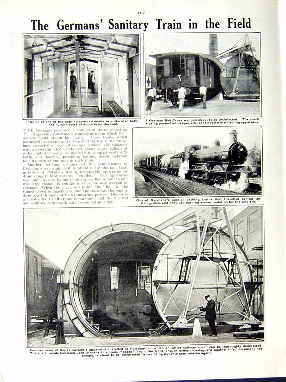 [Print 1915 World War Red Cross Soldiers Moncel Potsdam Train 106Re286 Old Original]