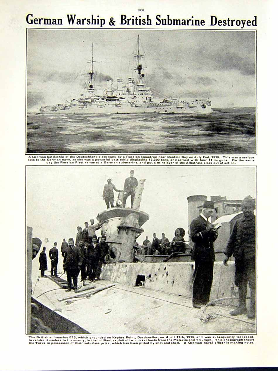 [Print 1915 World War British Submarine Bellairs Baltic German 135Re286 Old Original]