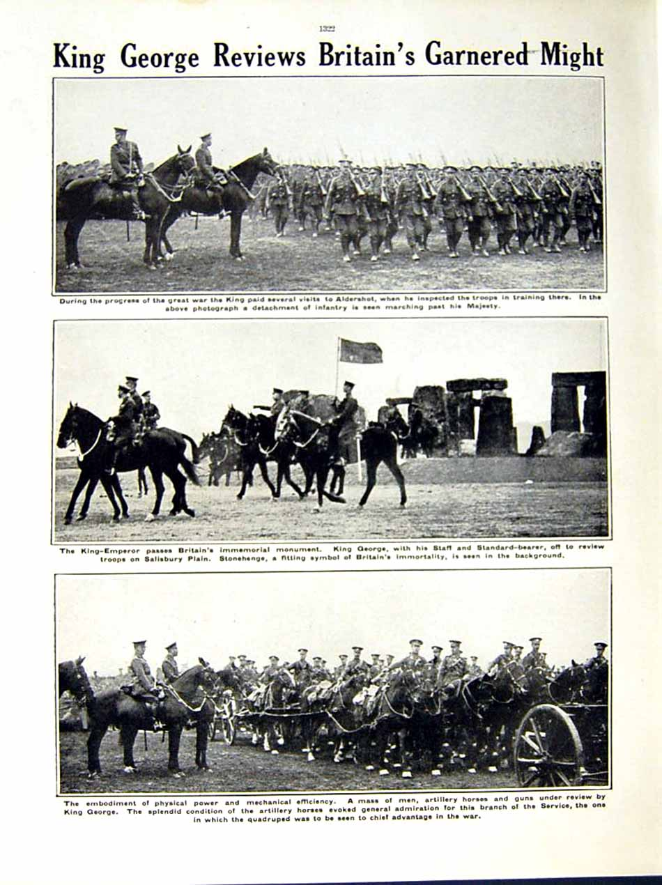 [Print 1915 World War Soldiers Essex Cyclists King George Army 141Re286 Old Original]