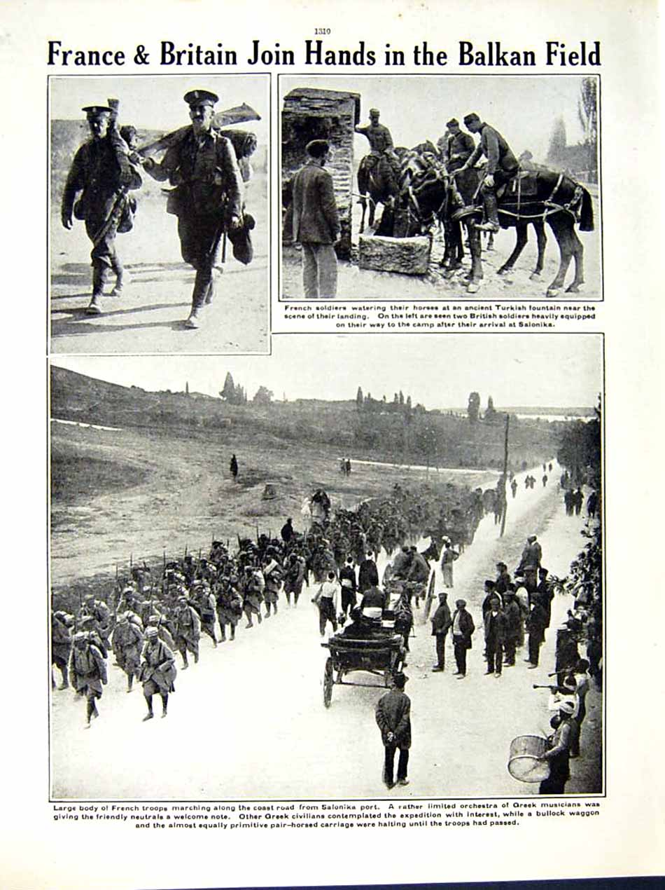 [Print 1915 World War British Soldiers Serbia French Greek 146Re286 Old Original]