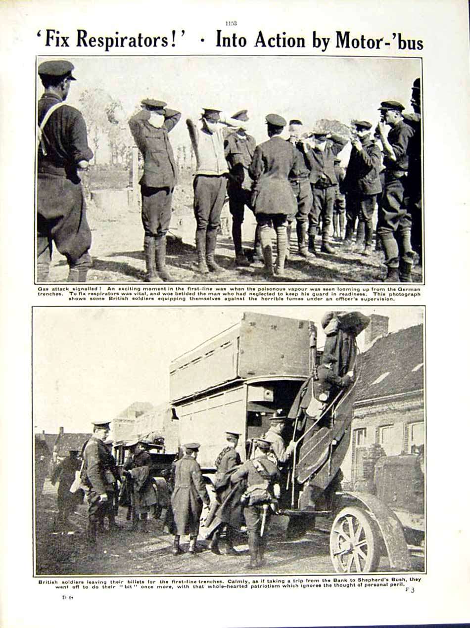 [Print 1915 World War French Soldiers Gas Mask Motor Bus 203Re286 Old Original]