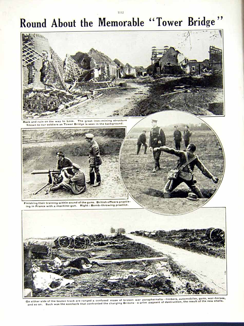 [Print 1915 World War British Soldiers France Loos Bombs 208Re286 Old Original]