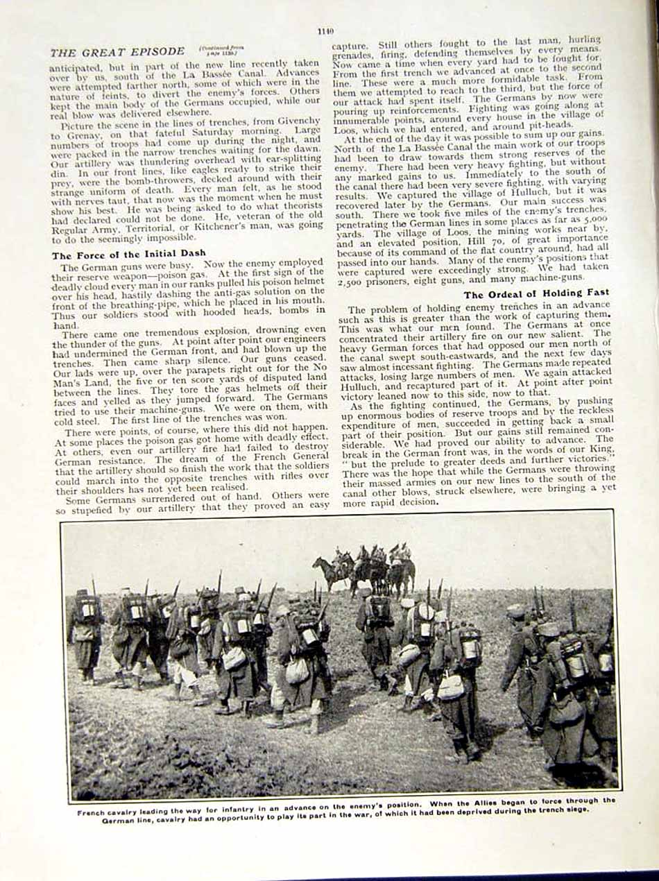 [Print 1915 World War Loos British Colonel Soldier French Army 209Re286 Old Original]