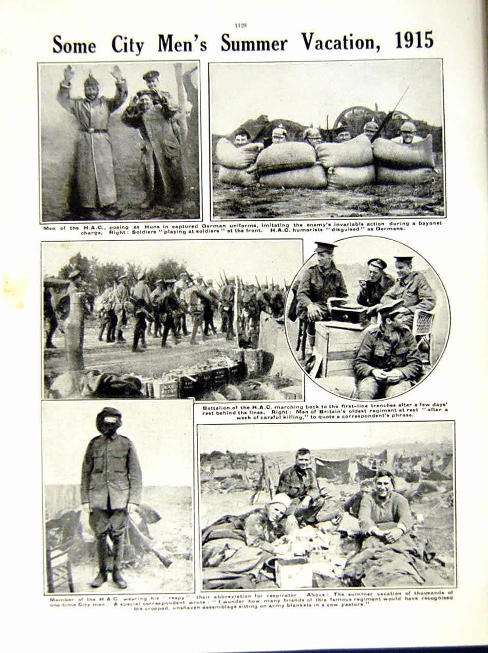 [Print 1915 World War British Soldiers Flanders H.A.C Trench 213Re286 Old Original]