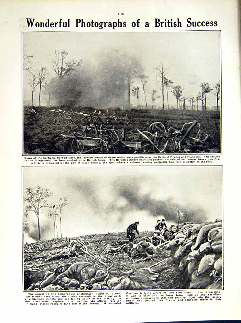 [Print 1915 World War British Soldiers Trench France German 214Re286 Old Original]