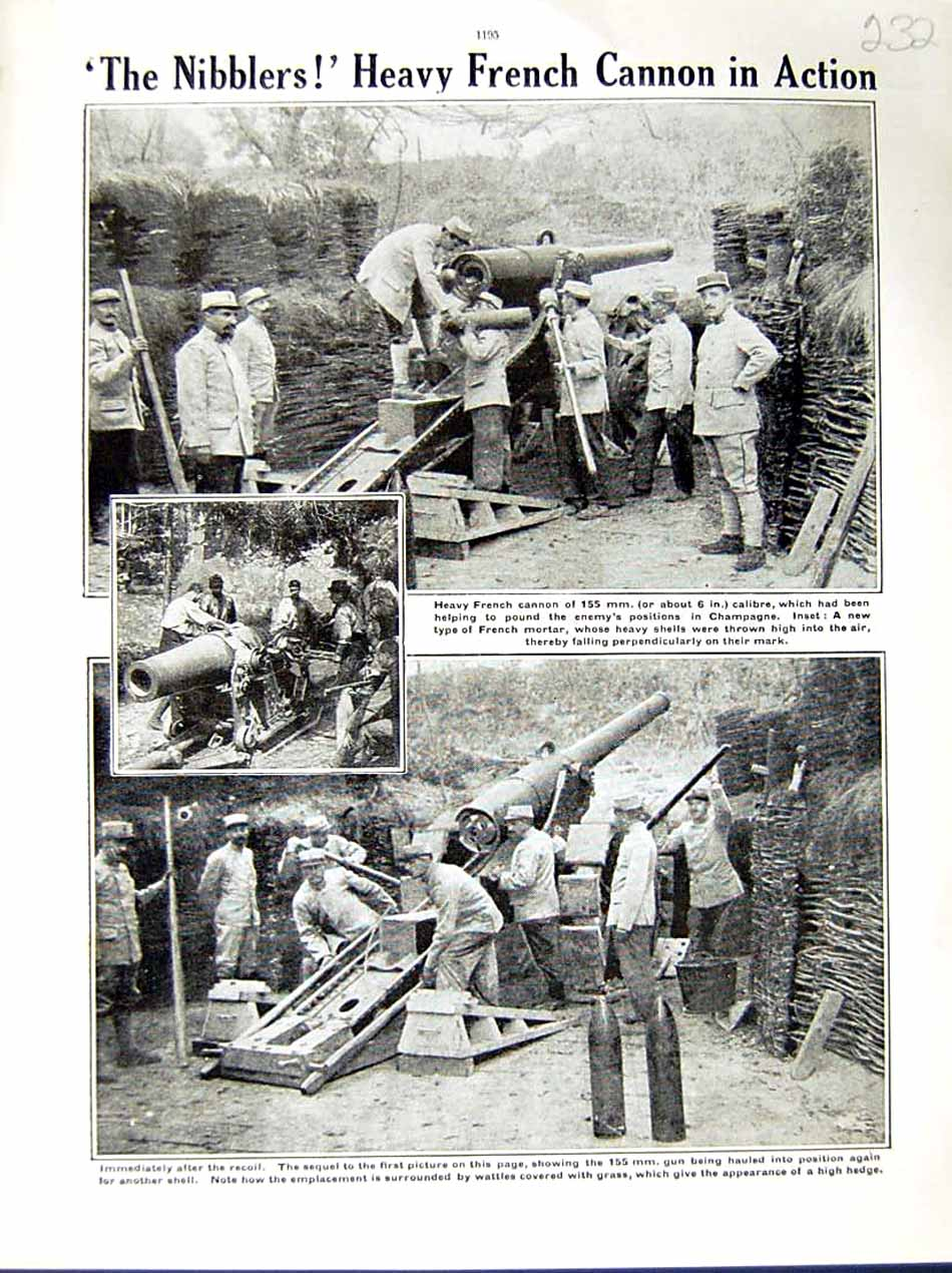 [Print 1915 World War French Cannon Gun Soldiers Champagne 232E286 Old Original]