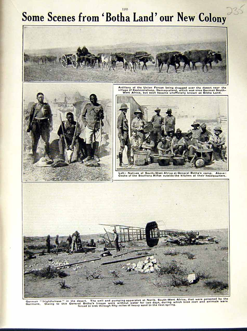 [Print 1915 World War General Botha Narib Africa Natives Army 235E286 Old Original]