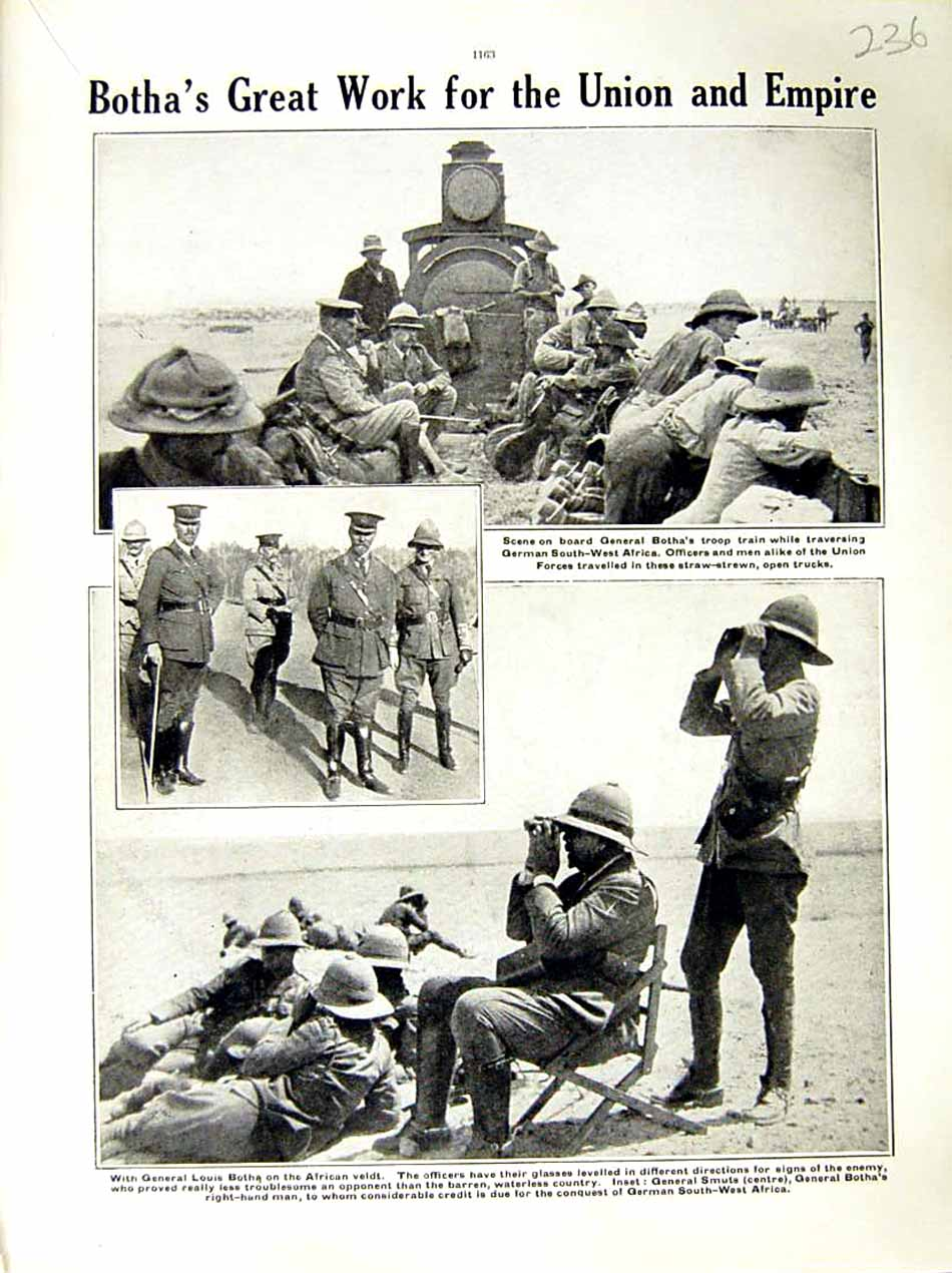 [Print 1915 World War General Botha Train Africa Soldiers 236E286 Old Original]