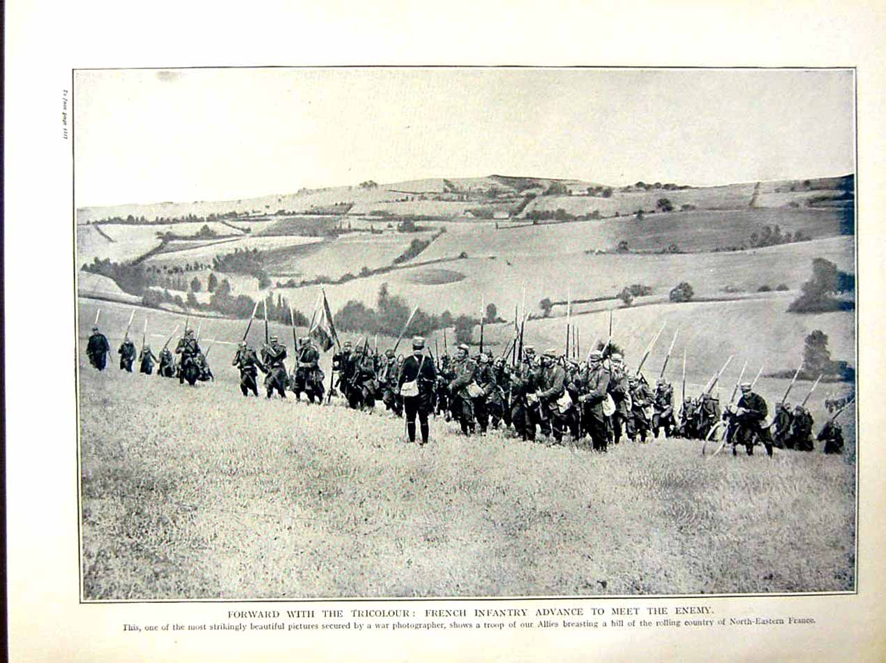 [Print 1915 World War French Infantry Soldiers France Troop 246E286 Old Original]