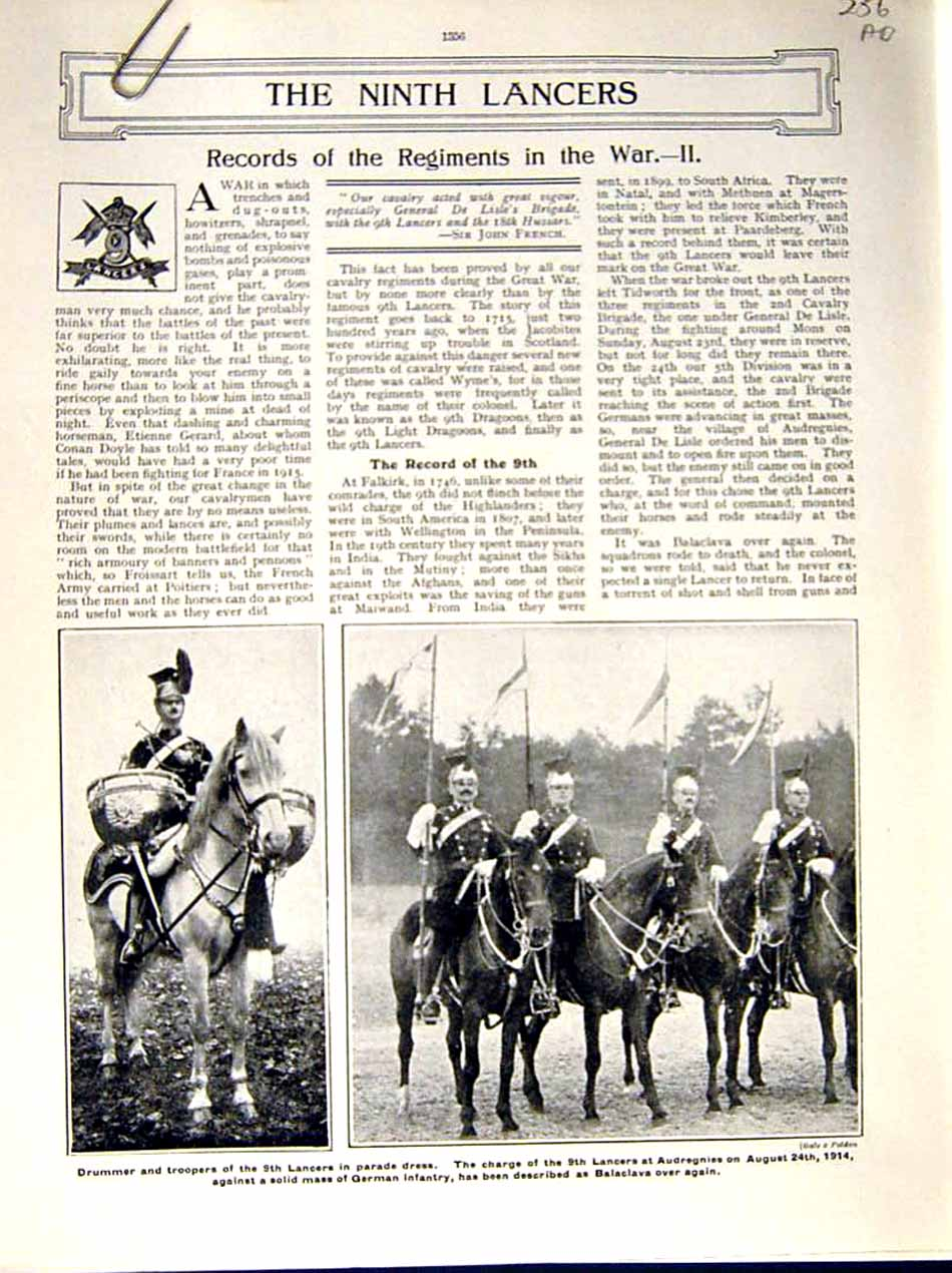 [Print 1915 World War Lancers Soldiers Audregnies Grenfell 256Ae286 Old Original]